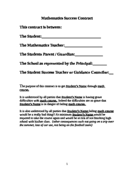 Mathematics Success Contract - A Contract Intervention for