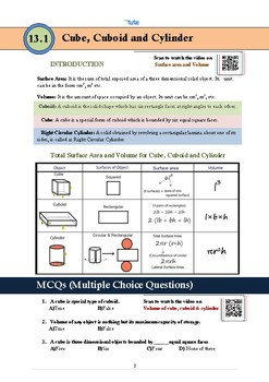 Mathematics | Surface Areas and Volumes | Assessments and documents (Geometry)