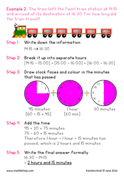 Mathematics: TIME Duration - Notes, examples and 6 work sheets