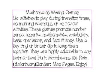 Mathematics Waiting Games