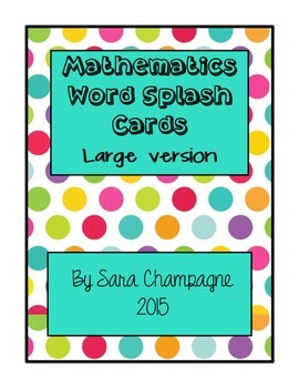 Mathematics Word Splash Cards - Large
