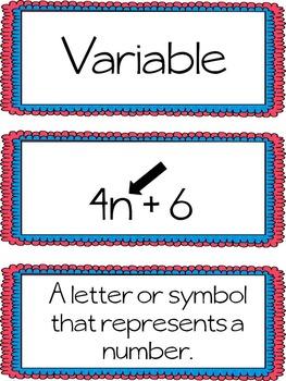 Mathematics Word Wall Vocabulary Cards