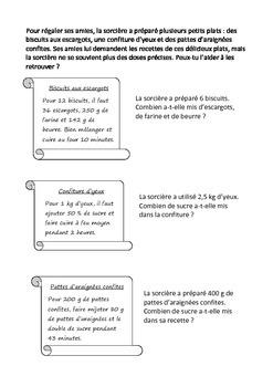 Halloween Activités mathématiques mesures conversions fractions problèmes
