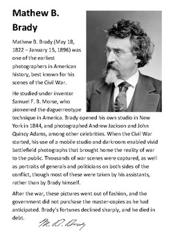 Mathew B. Brady Handout