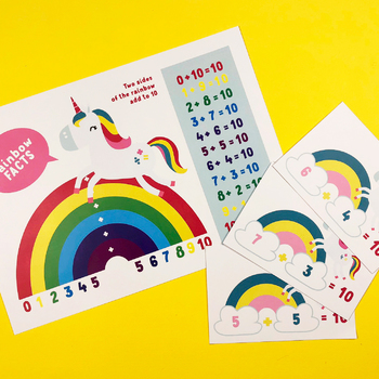 Mathicorn Rainbow Facts 10 (bonds to 10) Poster & Flash Cards