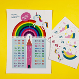 Mathicorn Rainbow Facts 20 (bonds to 20) Poster & Flash Cards