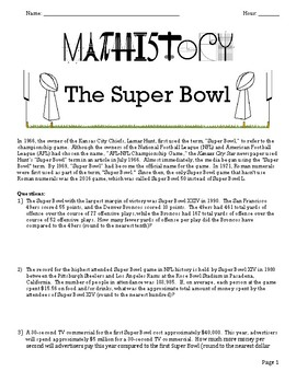 Super Bowl Facts: Pre-Algebra & Applied Math: Proportional Relationships & Ratio