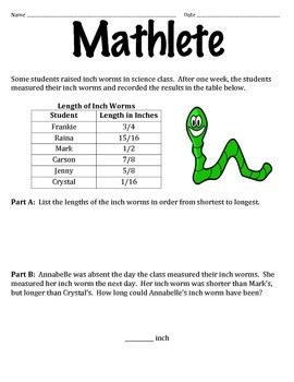 Mathletes:  Comparing and Ordering Fractions