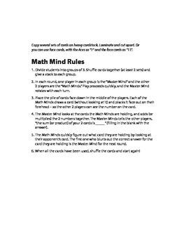 Mathmind card game - addition/multiplication practice (1-12)
