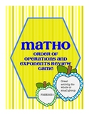 Matho Bingo Game for Review: Order of Operations and Exponents