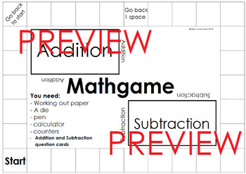 Mathopoly Addition and subtraction board game template (Free)
