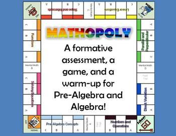 Mathopoly Warm-Up Game for Algebra