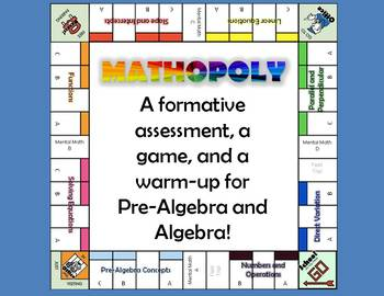 Mathopoly Warm-Up Problems for Pre-Algebra, Semester 1, Weeks 1-4