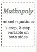 Mathopoly - mixed equations