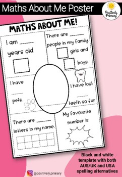 Maths About Me Kindergarten / Prep Number Sense - AUS and USA Spelling