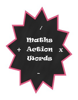 Maths Action Words Posters