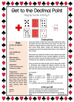 Maths Activities - Playing Cards