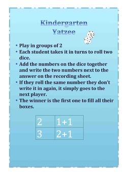 Maths Addition- Yatzee for Kindergarten