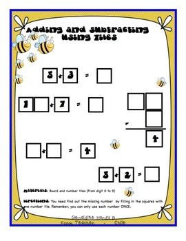 Maths - Addition and Subtraction - Games - Tiles