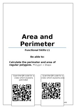 Maths Area and Perimeter workbooks L1 and L2 with answers