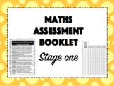 Maths Assessment Booklet - STAGE ONE - EDITABLE front cover