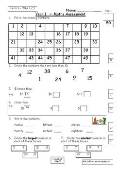 Maths Assessments Australia Year 1 Semester 1