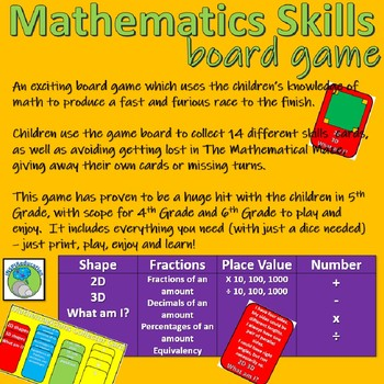 Maths Board Game, number,fractions,2D/3D shape,place value (over 280 questions)
