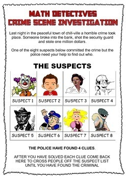 CSI Math: Who Committed the Crime? Use math to find out