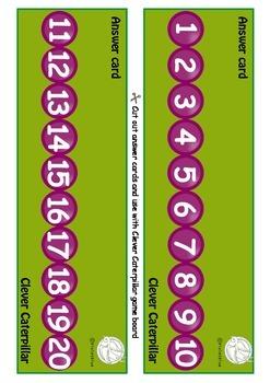 Maths Centre Game:Clever Caterpillar- numeral identification 1-20 (Kindergarten)