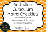 Maths Checklists - Australian Curriculum/AusVELS Alligned - Editable