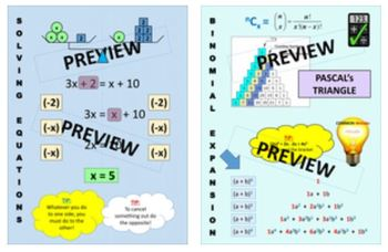 Maths Classroom Display - Linear Graphs, Sequences, Solving Equations, Binomialp