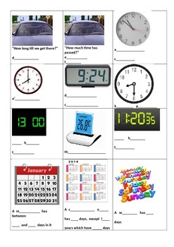 Maths Dictionary/Journal Images and Visuals with Vocab - Time and Place Value