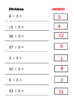 Maths - Division Independent sheets