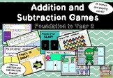 ADDITION and SUBTRACTION Fluency Card Games For F-year 3 GROWING BUNDLE - MATH