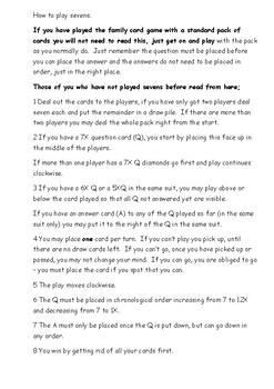 Maths Game - Sevens 7 times table