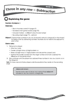 Maths Games: Three in a row – Subtraction to 100 – Year 1