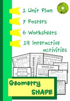 Geometry - Shape Unit Plan, Posters, Worksheets, Interactive Activities Y4-5
