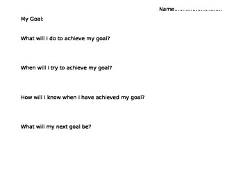Maths Goal Setting Addition and Subtraction