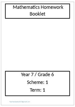 Maths - Grade 6/year 7 Homework - Assesment sheets