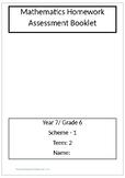 Maths - Grade 6/year 7 Homework - Assesment sheets - term 2
