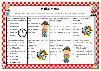 Maths Homework Activity Menu