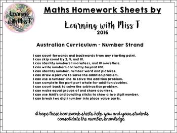 Maths Homework - Australian Curriculum Number