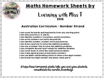 Maths Homework - Australian Curriculum Number