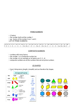 Maths Info Sheets