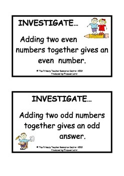 Maths Investigation Cards - Pack 1