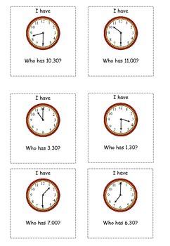Maths Loop Cards Time (o'clock, half past)