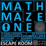 Maths Maze - Escape Room: Number and Shape, 9 Challenges, Print and Go