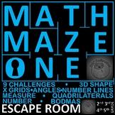 Math Escape Room-9 Challenges: 3D shape, Number lines, BODMAS, Measure, more