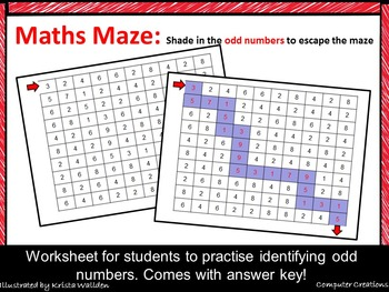 Maths Maze Odd Numbers