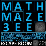 Maths Maze Three - Escape Room: Number and Shape, 9 Challenges, Print and Go